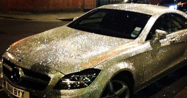 Russian Girl Covers Her Entire Mercedes In One Million Swarovski Crystals